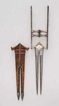 Dagger (Katar) with Sheath Date: 18th century Culture: Indian Medium: Steel, silk, wood