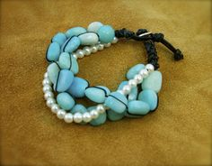 Amonzonite Marble and Cream Glass Pearls woven and braided with Silk and Black Leather, Round 99.9% Silver Button Clasp