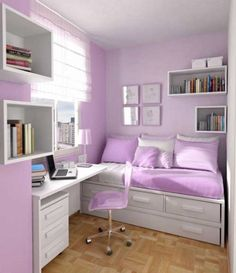 Bedroom, Delightful Girl Bedroom Ideas With Awesome Day Bed In White Bed Frame On Combined Soft Light Purple Pillows And Beautiful White Wood Study Table Plus Comfortable Wheels Light Purple Chair Also Gorgeous Wall Mount Bookshelf On The Light Purple Wall: Delightful Girls Bedroom Ideas