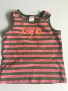 244611f30fb22 NWT Girl's Gymboree Island Cruise pink green striped tank top shirt ~ 4 7 8  10   eBay