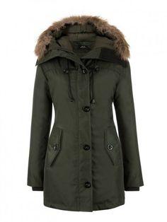 North Style Dames Parka Winterjas 1402 Leger Groen Voorkant