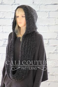 ♦ Celine Hooded Scarf pattern a knit infinity scarf with a delicate hood that can be worn up or down. You will be proud to wear this simply stylish scarf you knitted yourself or surprise a loved one with this one-of-a-kind gift. Hooded Scarf Pattern, Crochet Hooded Scarf, Crochet Hats, Scarf Knit, Knit Cowl, Free Crochet, Girl With Hat, Knitting Patterns, Scarf Patterns