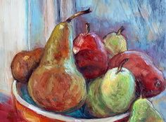Pears At Twilight by Susan Renee Lammers Oil ~ 6 x 8