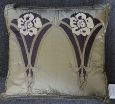 """""""SAXONY"""" Silk on silk appliqued pillow, inspired by the Art Nouveau period. Hand cut/machine stitched without the aid of computers 18"""" x 20"""""""
