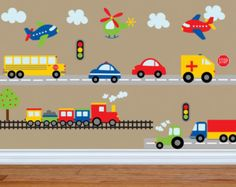 Car Decal - Construction Wall Decal -Bus Decal- Transportation Decal - Truck Wall Decal - Boy Wall Decal - Nursery Wall Decal - Wall Decals by YendoPrint on Etsy Kids Wall Decals, Kids Stickers, Nursery Wall Decals, Car Decals, Nursery Room, Decoration Creche, Vinyl Art, Boy Room, Kids Bedroom