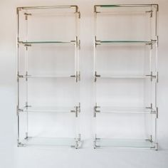 This elegant pair of lucite, glass and steel étagères were designed and produced by Charles Hollis Jones in the Lucite Furniture, Upscale Furniture, Moving To Los Angeles, Bathroom Medicine Cabinet, Studio, Modern Design, Steel, Usa, Home Decor