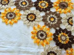 Crochet flower for curtain, step by step instructions