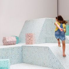 Turner Prize-nominated architecture collective Assemble has teamed up with British artist Simon Terrill to create full-size foam replicas of playground designs from architecture's Brutalist Playground Design, Indoor Playground, Playground Ideas, Turner Prize, Interactive Exhibition, Interactive Design, Vitra Design Museum, Dezeen, Brutalist