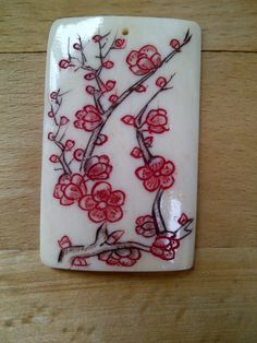 Rectangular Pendant with Cherry Blossoms by VanCityBeadSupplies, $22.50