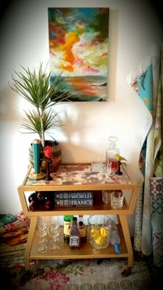 Upcycled gold drinks trolly with decoupage top. By Style 25 Interiors. Gold Drinks, Interior Shop, Shop Interiors, Decoupage, Upcycle, Top, Furniture, Home Decor, Style