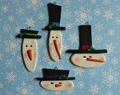 Polymer Clay Snowmen Christmas Ornaments---Set of Four