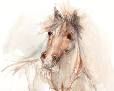 Horse watercolor painting Animal art Original by FrancinaMaria, $85.00