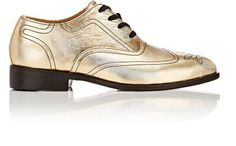 Esquivel Wingtip Oxfords In Gold Esquivel, Distressed Leather, Barneys New York, Black Flats, Leather Heels, Derby, Bag Accessories, Oxford Shoes, Dress Shoes