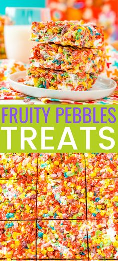 These Fruity Pebbles Treats are a fun and fruity twist on the classic no-bake dessert made with Rice Krispies cereal. They are made with the perfect blend of cereal, butter, and marshmallows and take just 7 minutes to prepare! # no bake Desserts Köstliche Desserts, Delicious Desserts, Dessert Recipes, Popcorn Recipes, Fudge Recipes, Cheesecake Desserts, Fruity Pebbles Treats, Fruity Pebble Bars, Rice Krispie Treats With Fruity Pebbles Recipe