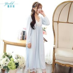 Noble princess lace dresses for women sleepwear long sleeve womens sleeping dress vintage nightgowns ladies lounge white purple