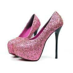 Glitter Upper Hidden Platform Stilettos Heels