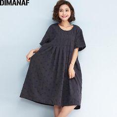 718305c1d8a DIMANAF Women Dress Plus Size Linen Plaid Print Female Vintage Hole Casual  Loose Oversized Dresses New Summer Dresses 4XL