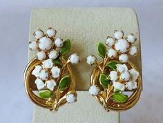 Vintage Milk Glass Enamel Climber Flower Earrings by vintagelady7