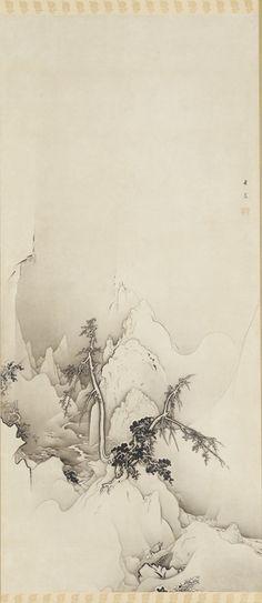 Winter landscape: a ravine 1883  Kanō Hōgai , (Japanese, 1828-1888)  Edo period   Ink on paper H: 266.0 W: 83.3 cm