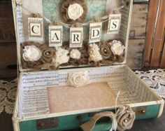 Vintage Suitcase for Rustic Wedding Card by RusticGlamDesigns