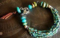 Turquoise Glass and Jasper Beaded Bracelet