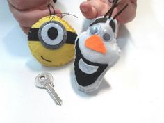 Minion Olaf key chain or ornament for christmas tree, hand cut and stuffed with polyester filling.