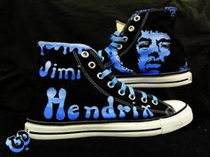 I love the gradient blue. Nice twist on the graphic black look. Painted Converse, Painted Sneakers, Painted Clothes, Hand Painted Shoes, All Star, Jimi Hendrix, Custom Shoes, Converse Chuck Taylor, High Top Sneakers