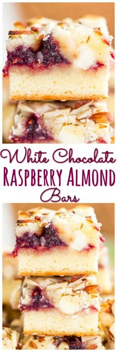 Layers of almond and white chocolate batter are filled with raspberry preserves, and more white chocolate! Topped with slivered almonds for a bit of crunch!
