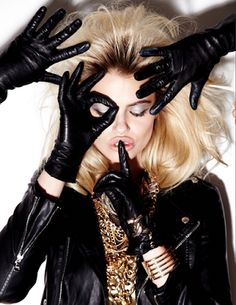 High Fashion Photographers Los Angeles- Top Celebrity | Editorials | Vogue | Advertising | Beauty: Hailey Clauson Model Beauty images photoshoot by N... Leather gloves and gold