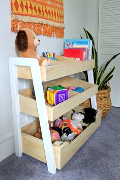 How to build this Three-Tiered Storage Shelf in just one afternoon! How to build this Three-Tiered Storage Shelf in just one afternoon! Childrens Shelves, Childrens Bedroom Storage, Kids Bedroom, Home Decor Furniture, Kids Furniture, Furniture Making, Bedroom Furniture, Furniture Design, Room Shelves