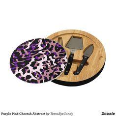 Purple Pink Cheetah Abstract Cheese Board
