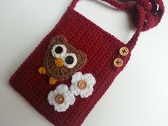 owl purse with front pocket, back pocket, and interior pocket Inspiration only ~ page no longer exists