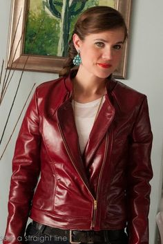 Leather asymmetrical jacket Sew a Straight Line-7