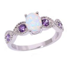 White Fire Opal & Amethyst Women Jewelry Gemstone Silver Ring Size 12 See more details. Jewelry Rings, Fine Jewelry, Women Jewelry, Jewellery, Jewelry Accessories, Jewelry Watches, Women's Rings, Ruby Rings, Jewelry Making