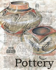 Native American Pottery Mixed Media Drawing on Children's Dictionary - flying shoes art studio