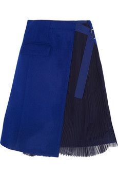 Sacai Wool-felt and pleated chiffon wrap skirt | NET-A-PORTER