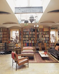 great family room with giant library and eclectic lanterns! Love it!