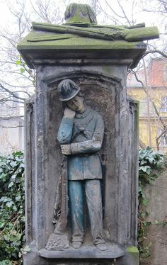 This is the grave of someone that died during hunting. Small monumental cemetery next to Letna, Prague, on Kostelni street.