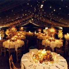 ; Wedding seating set up ; Outdoor Reception ; Fairy Lights
