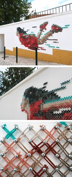 A Student Lost in the Easy Freedom of Youth Depicted in a Cr.- A Student Lost in the Easy Freedom of Youth Depicted in a Cross-Stitch Mural by Aheneah Cross-stitch street art in Portugal by Ana Martins (Aheneah) - Murals Street Art, Street Art Graffiti, Street Wall Art, Street Art Utopia, Art Public, Art Du Monde, Urbane Kunst, Wow Art, Street Artists
