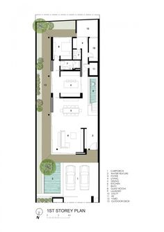 Image 18 of 20 from gallery of Far Sight House / Wallflower Architecture + Design. First Floor Plan Narrow House Plans, Modern House Plans, House Floor Plans, The Plan, How To Plan, Villa Plan, Layouts Casa, House Layouts, Villa Design
