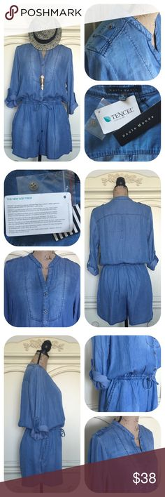 Chambray Romper Tencel New Age Fiber Made Really nice & in style chambray romper from Haute Monde, made of Tencel, a natural new age cellulose fiber made of wood. Fabric is soft & flowy. Elastic waistband w/ drawstring tie & some natural fading effect in front. Side pockets 3/4 sleeves w/ roll up tabs & military-style tabs on shoulders. Front buttons closure. NWT 🎈No holds 🎈No trades 🎈No transactions outside of Poshmark 🎈No lowball offers 🎈Please use the Offer button to negotiate Haute…