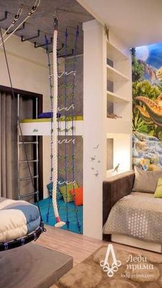 Kids room design - DIY Basement Indoor Playground with Monkey Bars – Kids room design Awesome Bedrooms, Cool Rooms, Indoor Playground, Kids Room Design, Nursery Design, Dream Rooms, Kid Spaces, My New Room, Girls Bedroom