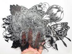 切り絵 花と蝶 | Kuroneko miyuki 切り絵