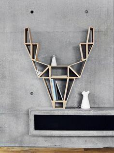 Geometric-Deer-Head-Bookshelf-Design by BeDesign