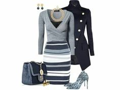 Grey & navy look beautiful together in this ensemble.  Love the collar & off set button details on the coat.