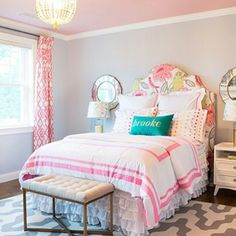 Lovely light, bright, beautiful pattern coordination decorated bedroom