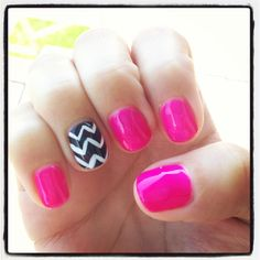 My gel manicure today! Chevron accent nail :)