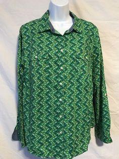 45dce89feb4e Talbots Women 16 XL Green Navy Blue Horse Pattern Cotton Button Down Blouse