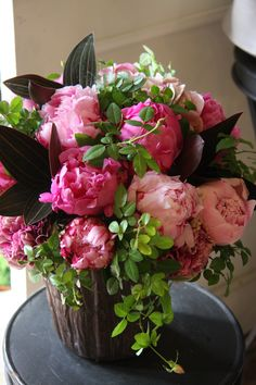 Pretty Pink Peonies with ludisia and small roses fresh for the garden